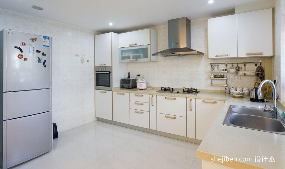 现代风格开放式L型8平米家居厨房米黄色橱柜装修图片功能区其他功能区设计图片赏析
