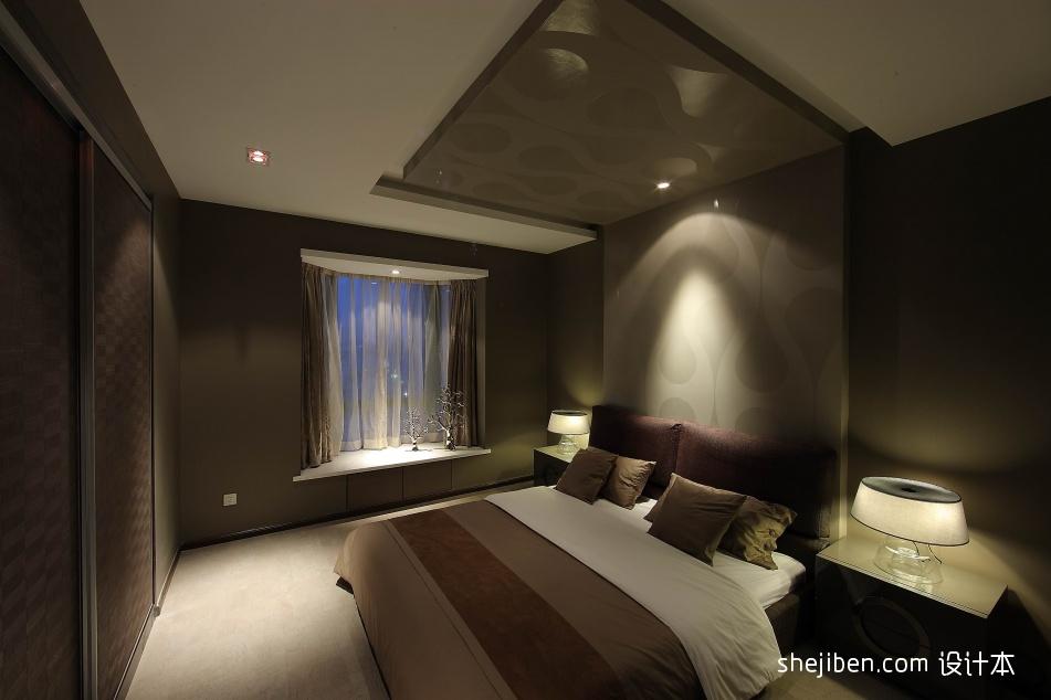 现代风格三居室简单经典别墅主卧室飘窗床头背景墙组合衣柜装修效果图片设计图片赏析