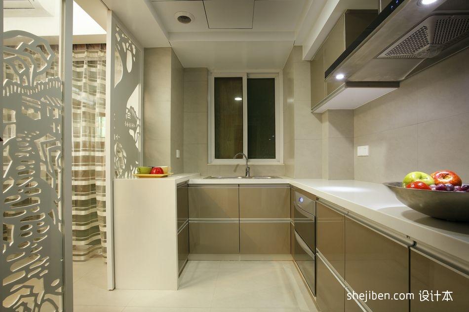 2018精选面积92平现代三居厨房装修设计效果图餐厅现代简约厨房设计图片赏析