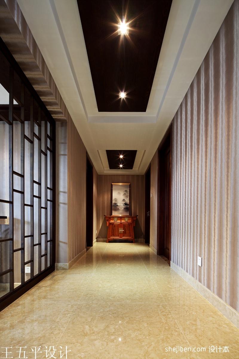 中式风格走廊过道吊顶装修效果图设计图片赏析