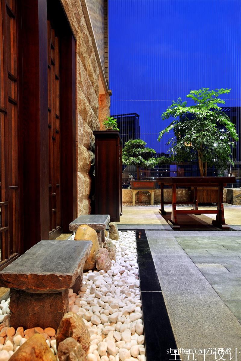 深圳集信名城样板房设计中式露天阳台装修效果图设计图片赏析