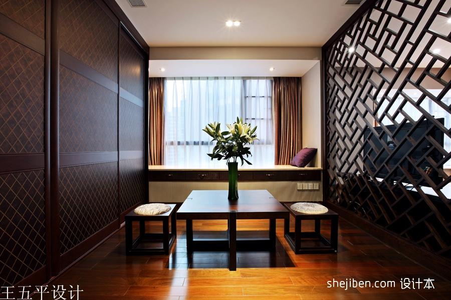 2013中式风格样板间室内休闲区窗台窗帘镂空隔断木地板装修效果图片设计图片赏析