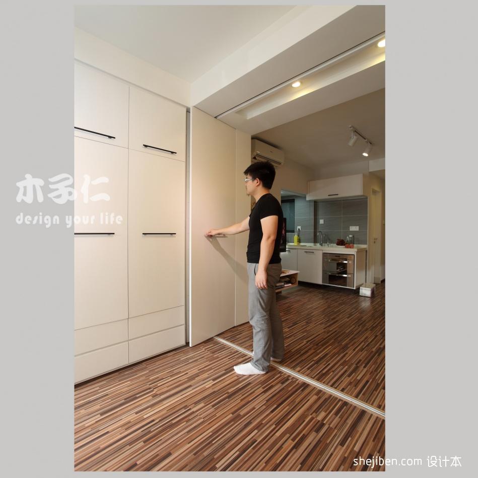 绿意生活现代卧室隐形门衣柜装修效果图潮流混搭设计图片赏析