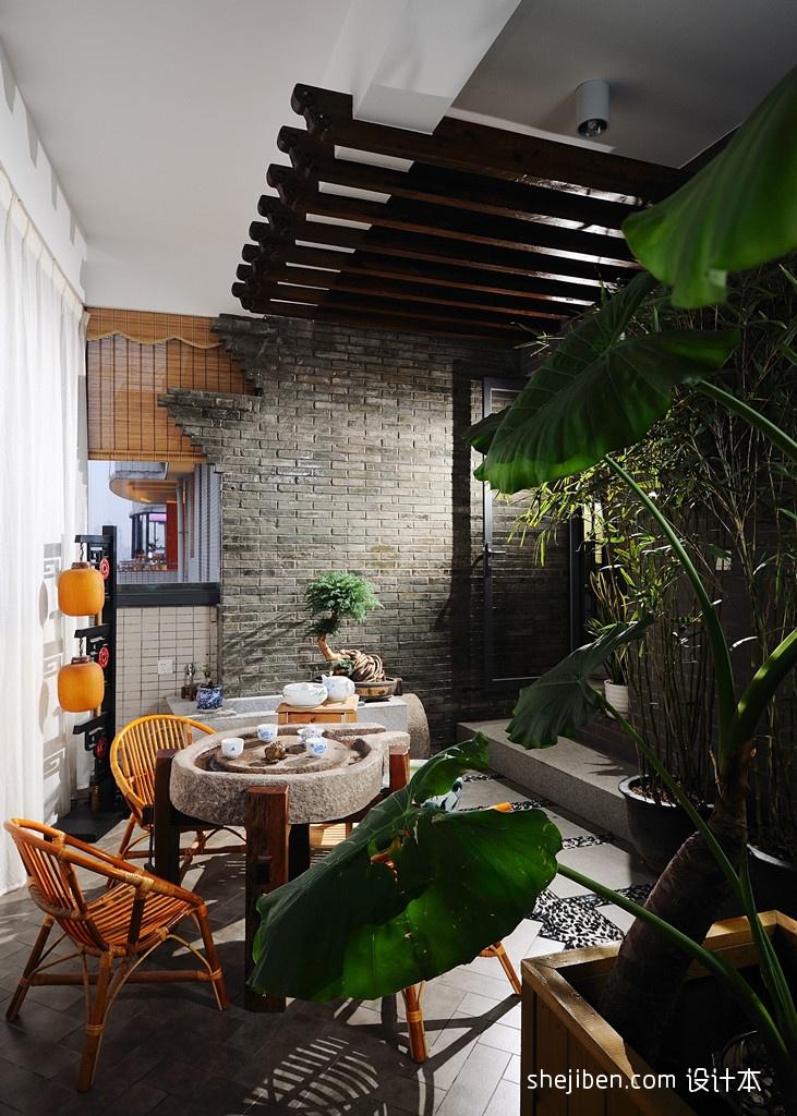 家装室内阳台装修效果图阳台中式现代阳台设计图片赏析