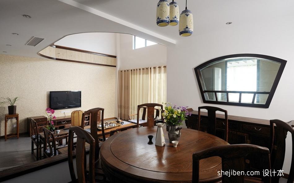 别墅餐厅客厅电视背景墙装修效果图欣赏厨房中式现代餐厅设计图片赏析