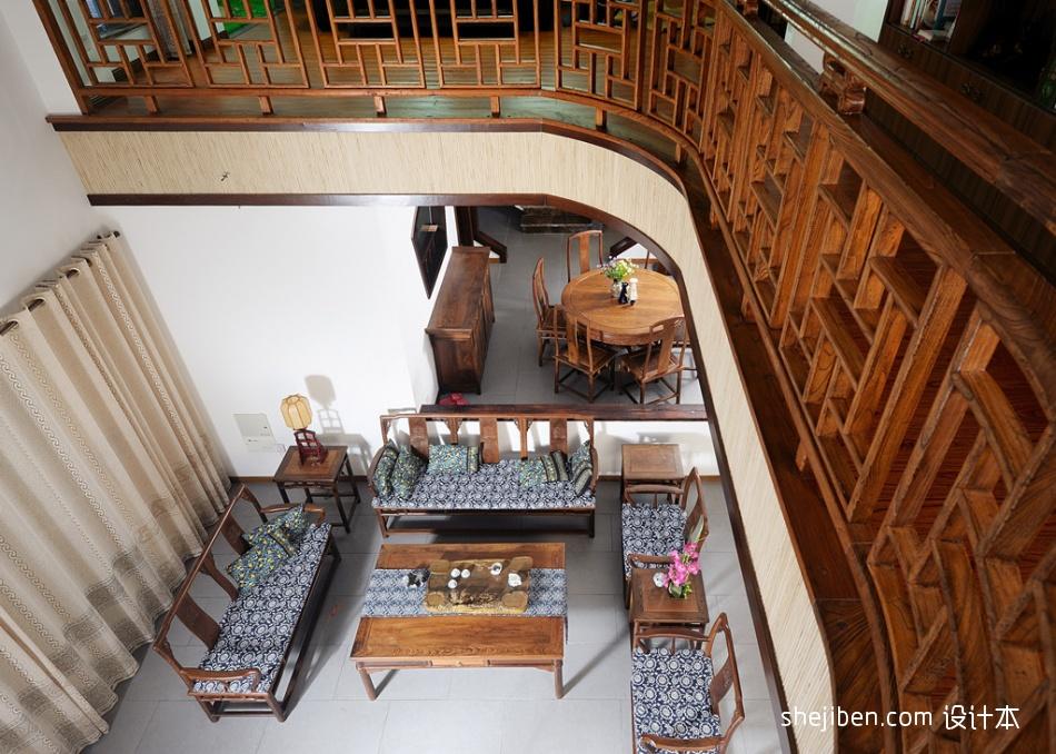 中式风格别墅挑高客厅家具摆设效果图客厅中式现代客厅设计图片赏析