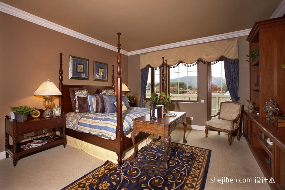 欧式风格精装别墅主人卧室床头背景墙带阳台装修效果图片其他设计图片赏析