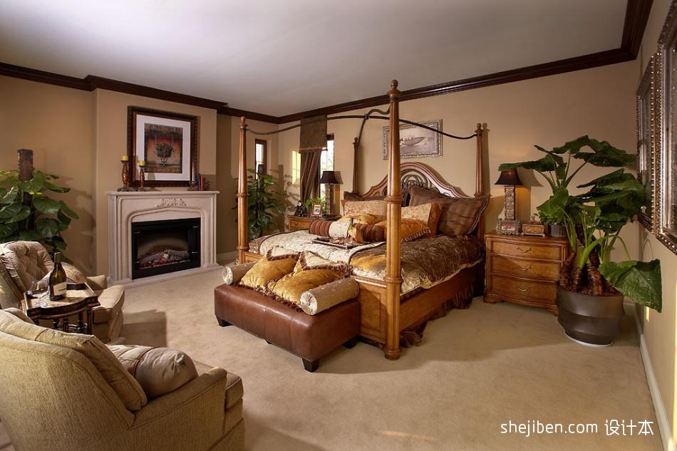 欧式风格时尚大气别墅主人卧室床头背景墙壁炉装修效果图片其他设计图片赏析