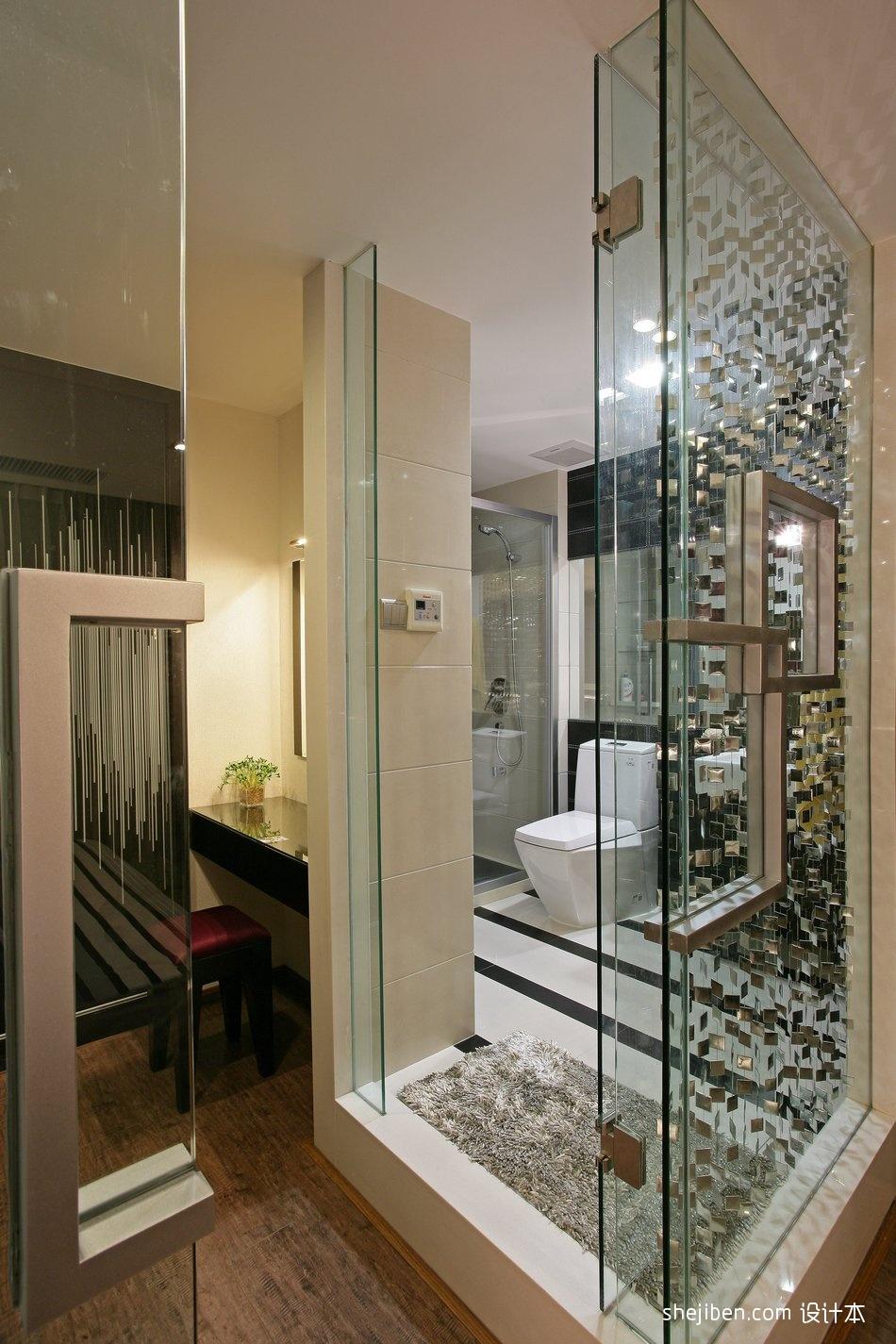 热门面积117平别墅卫生间混搭装修实景图片欣赏卫生间潮流混搭卫生间设计图片赏析