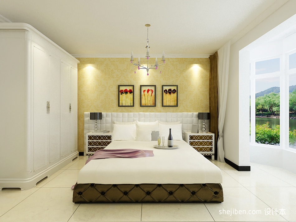 明亮115平混搭三居卧室效果图欣赏卧室潮流混搭卧室设计图片赏析