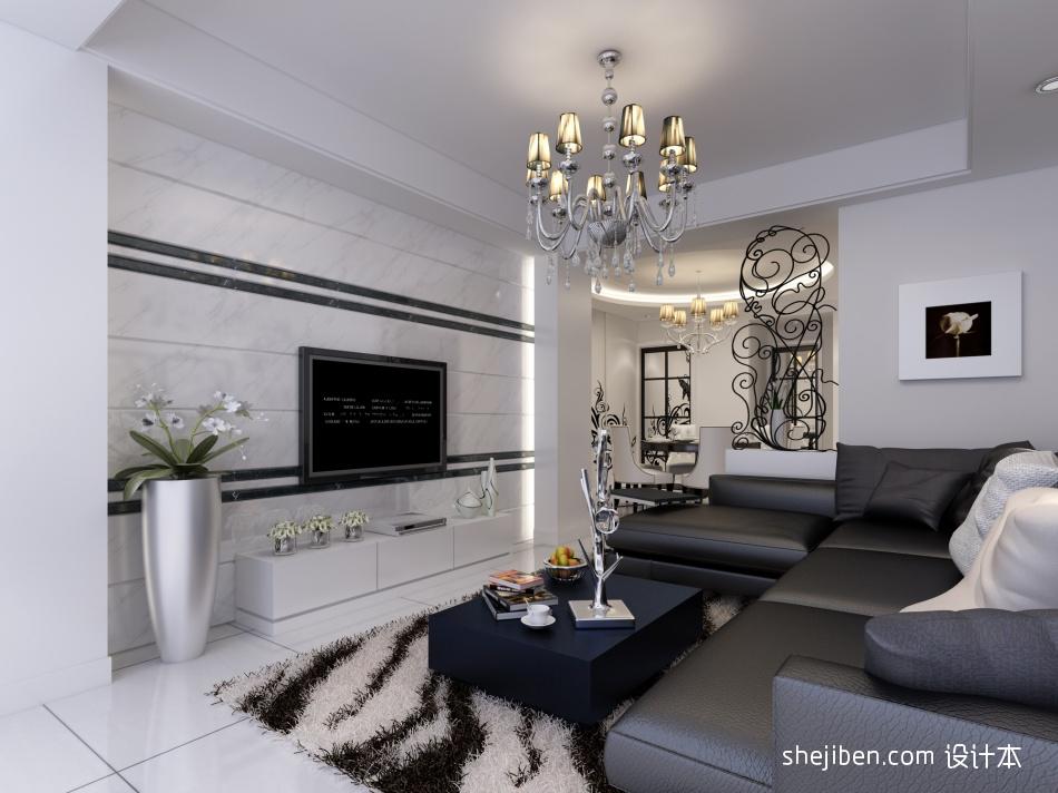 黑白配客厅潮流混搭客厅设计图片赏析