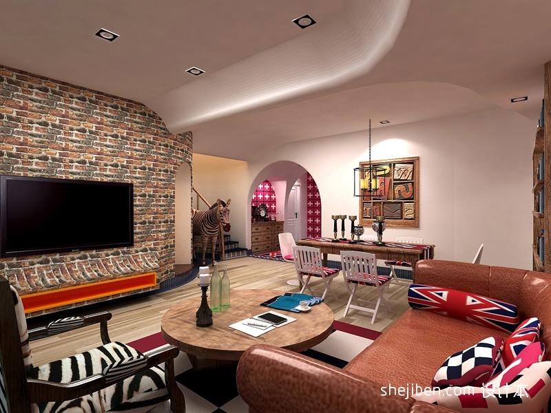 精美137平米混搭别墅客厅装修图片大全客厅潮流混搭客厅设计图片赏析