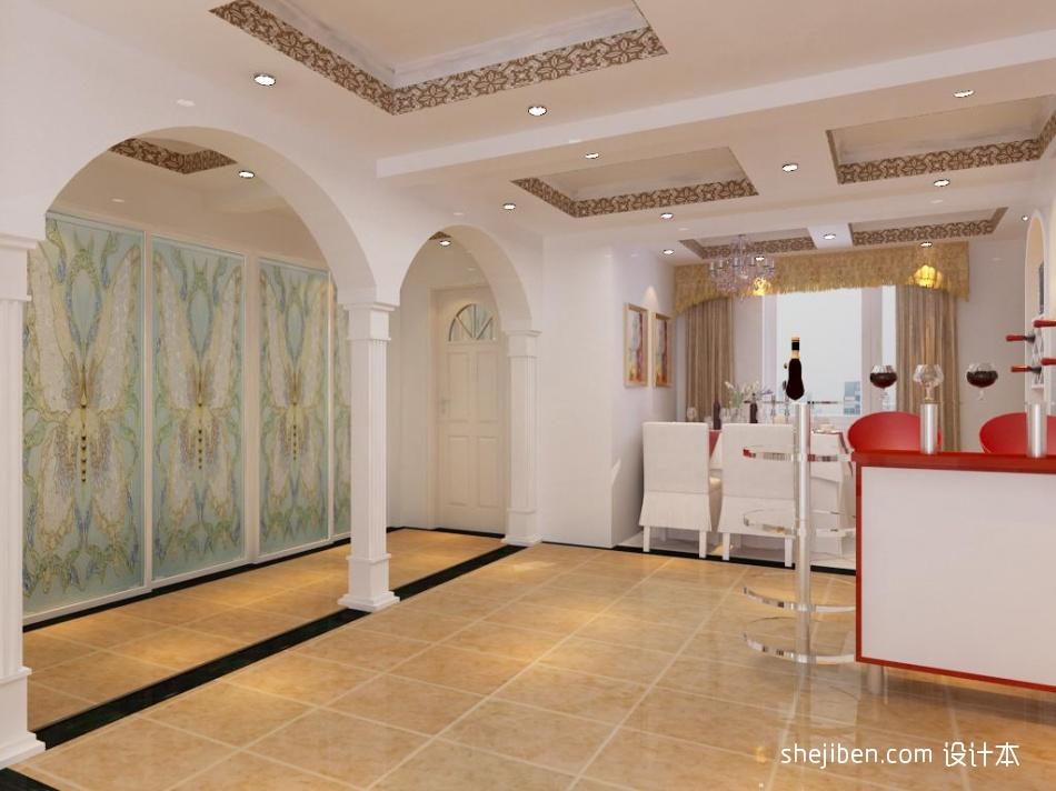 精美混搭3室客厅效果图96平设计图片赏析