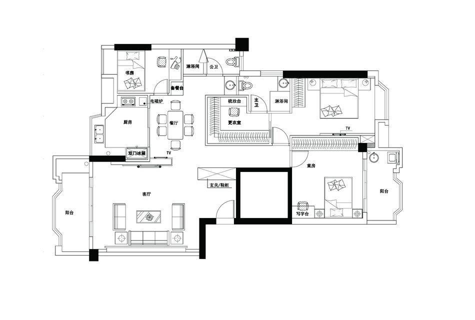华丽84平混搭三居客厅案例图客厅潮流混搭客厅设计图片赏析