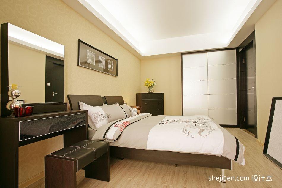 现代简约风格精装80后家居主人卧室床头背景墙吊顶装修效果图片设计图片赏析