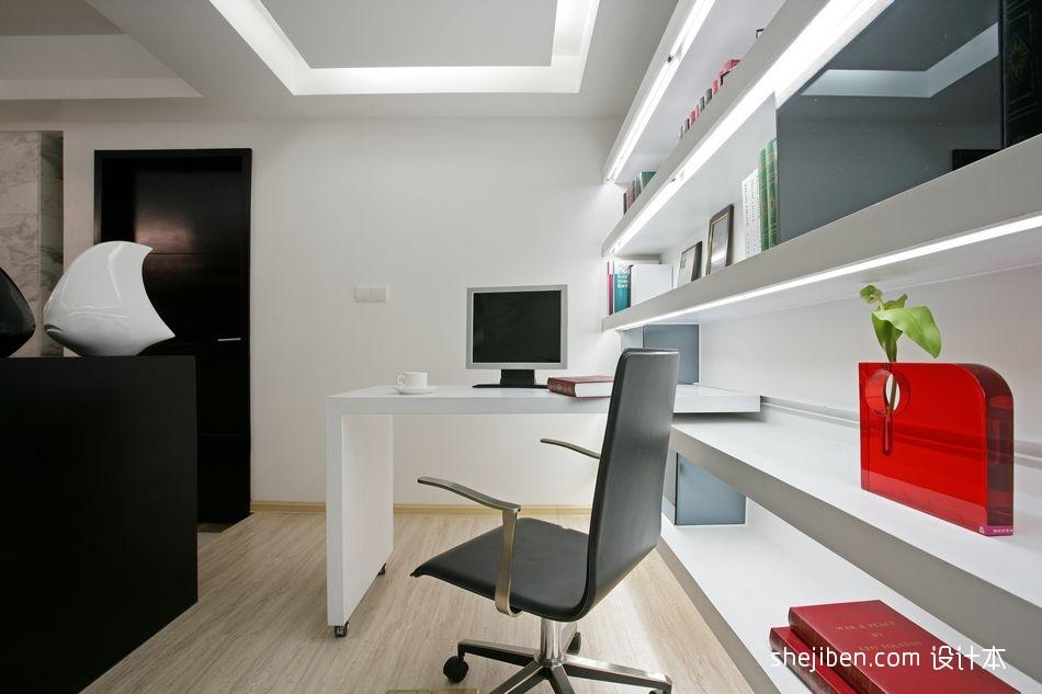 2017现代风格四居室开放式简易书房书柜吊顶装修效果图片设计图片赏析