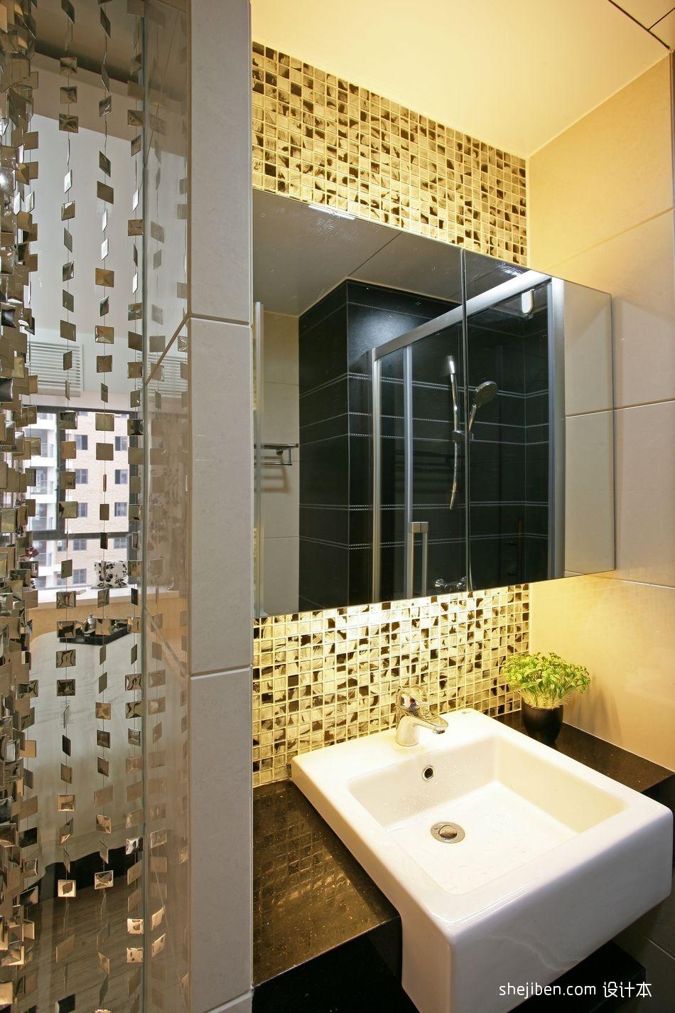 现代风格四居室两厅两卫简约家居主卫生间洗手盆镜子马赛克瓷砖墙面装修效果图片设计图片赏析