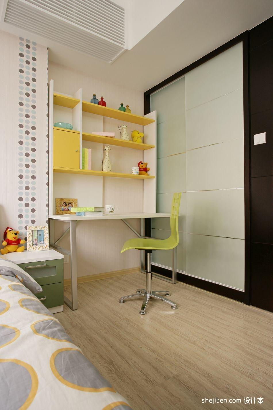 现代儿童房书房一体化装修效果图设计图片赏析