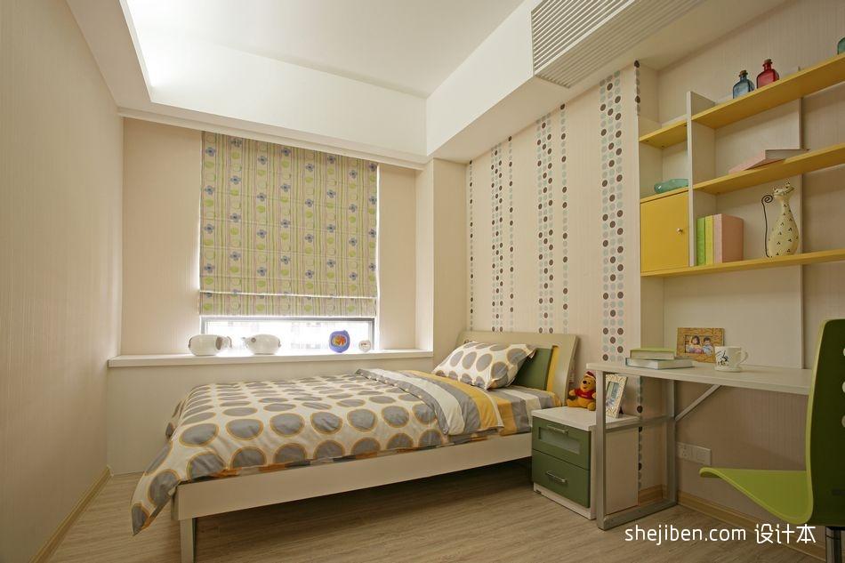 2013现代风格四居室宜家女孩儿童房窗台窗帘手绘墙图案书桌书架装修效果图片设计图片赏析