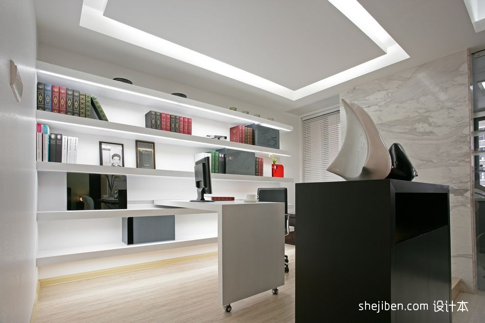 2017现代风格四居室开放式简易书房吊顶书柜装修效果图设计图片赏析