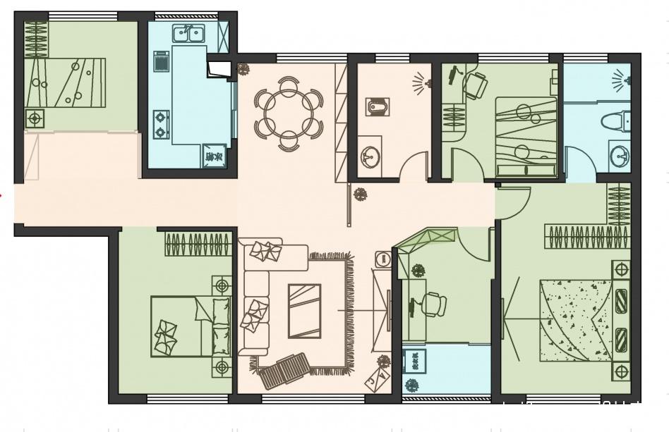 温馨118平混搭四居客厅图片欣赏客厅潮流混搭客厅设计图片赏析