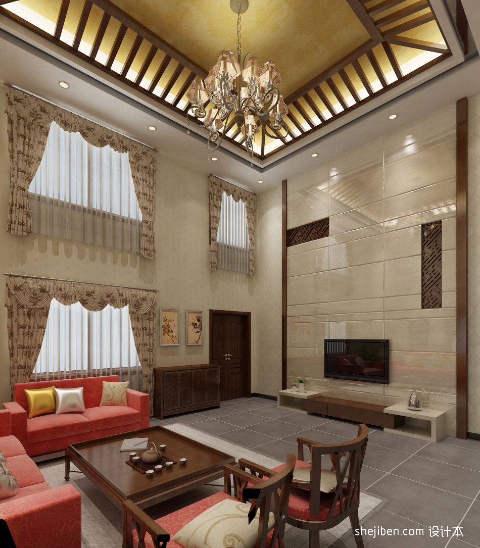 明亮524平混搭别墅客厅装饰美图客厅潮流混搭客厅设计图片赏析