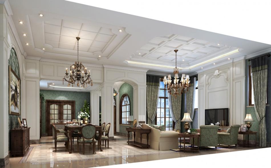 温馨666平混搭别墅客厅装修装饰图客厅潮流混搭客厅设计图片赏析