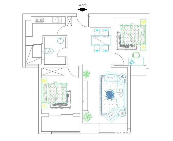 平面图客厅潮流混搭客厅设计图片赏析