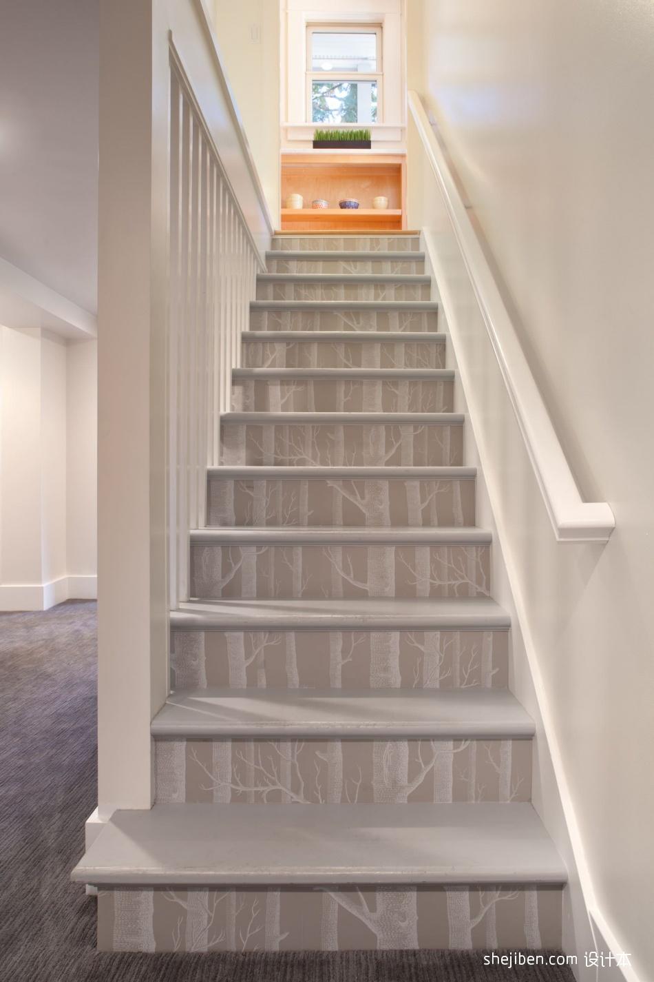 2017现代风格别墅家装室内木质楼梯护栏装修效果图功能区5图潮流混搭功能区设计图片赏析