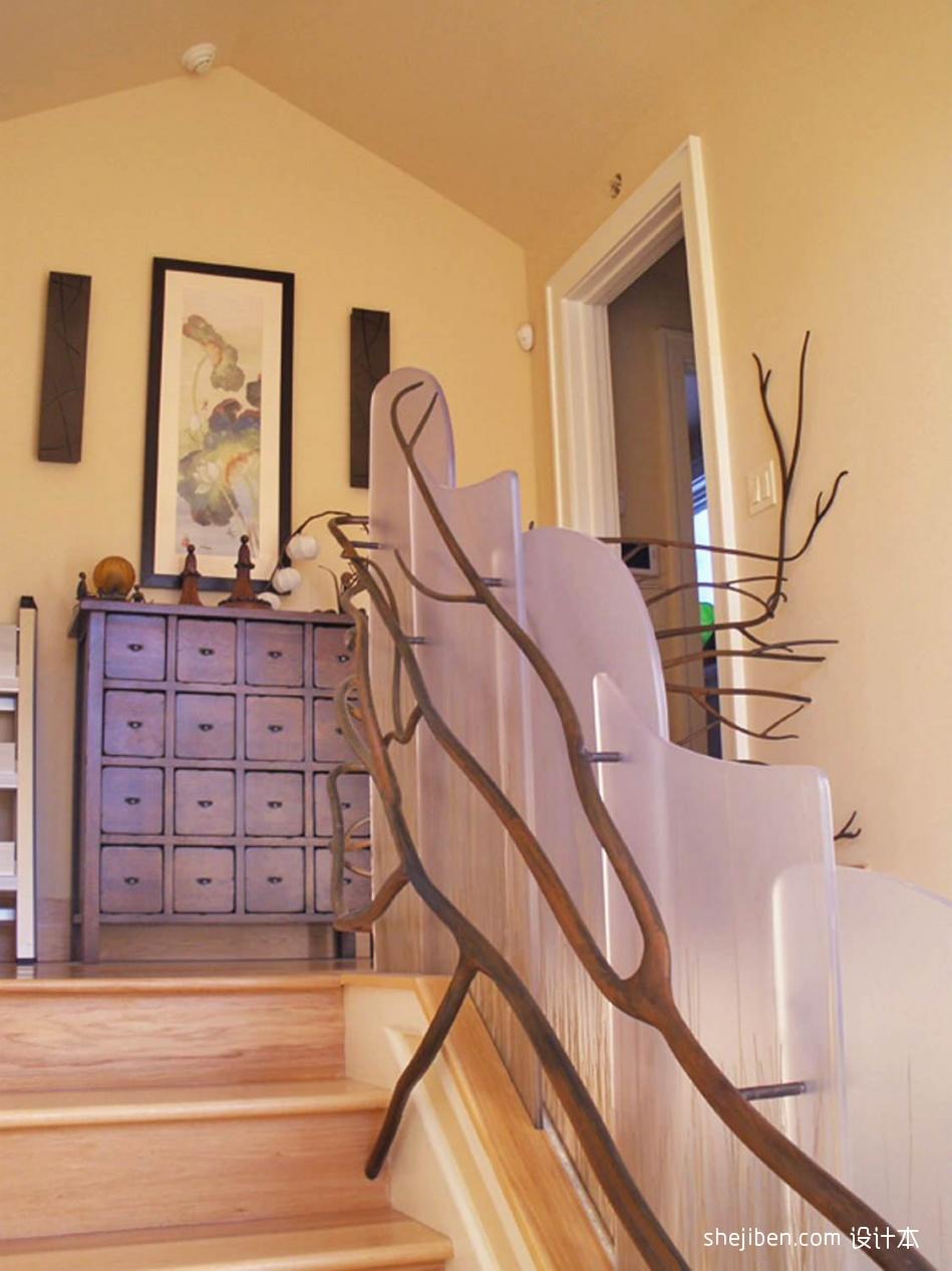2017混搭风格别墅室内装饰木艺楼梯护栏装修效果图功能区3图潮流混搭功能区设计图片赏析