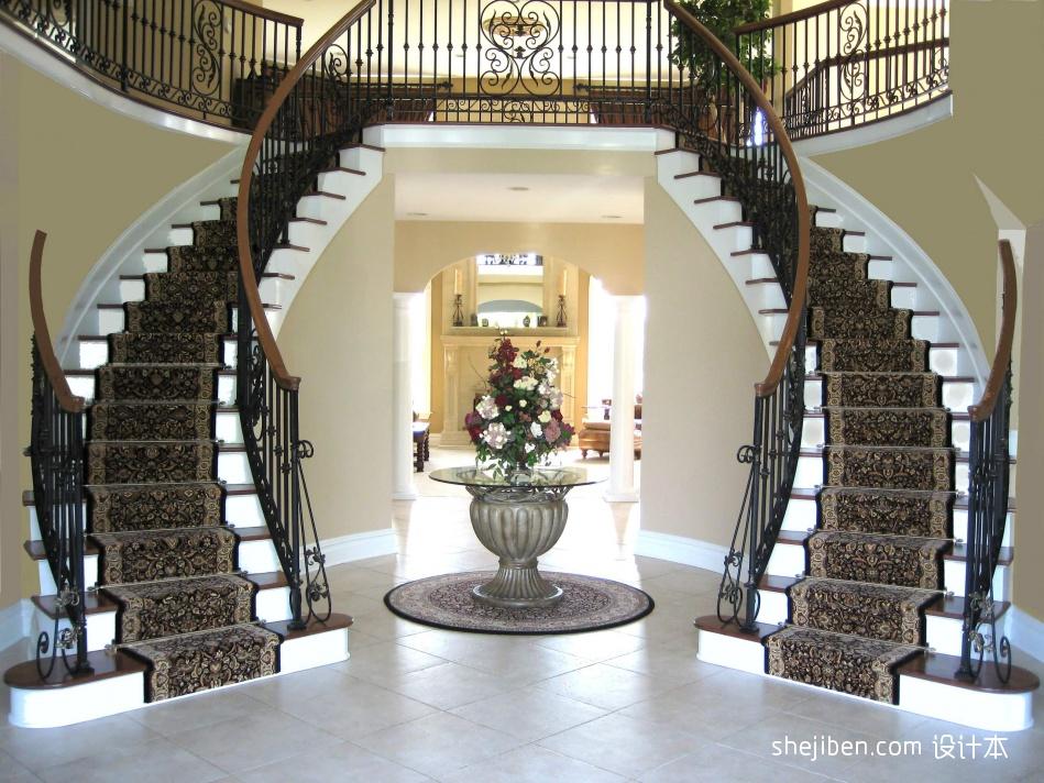 2013欧式风格别墅豪华U型铁艺楼梯护栏装修效果图潮流混搭设计图片赏析