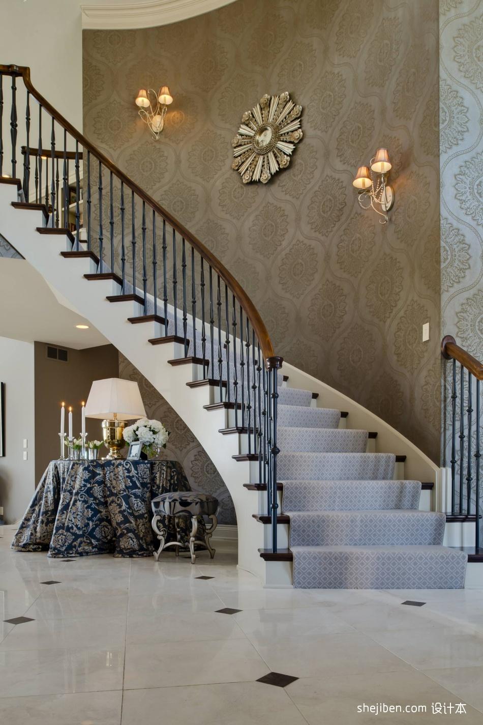 2017欧式风格别墅豪华装饰铁艺楼梯护栏装修效果图功能区1图潮流混搭功能区设计图片赏析