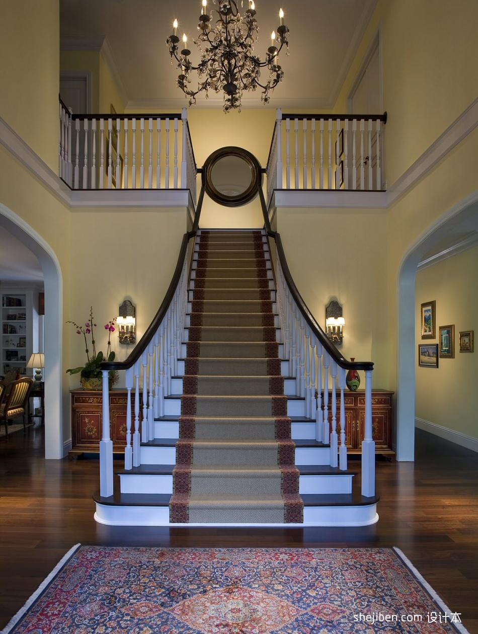 2017欧式风格别墅室内豪华实木楼梯护栏装修效果图潮流混搭设计图片赏析