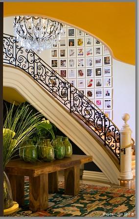2017混搭风格别墅室内高档铁艺楼梯护栏装修效果图