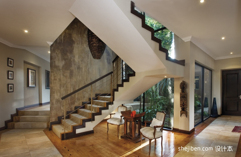 2017现代风格别墅家用精品不锈钢楼梯护栏装修效果图功能区2图潮流混搭功能区设计图片赏析