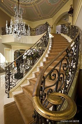 2017欧式风格别墅室内整体铁艺楼梯护栏装修效果图