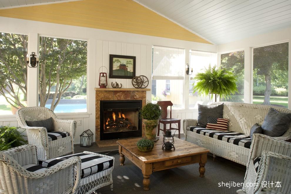 温馨美式田园别墅客厅窗户装修效果图