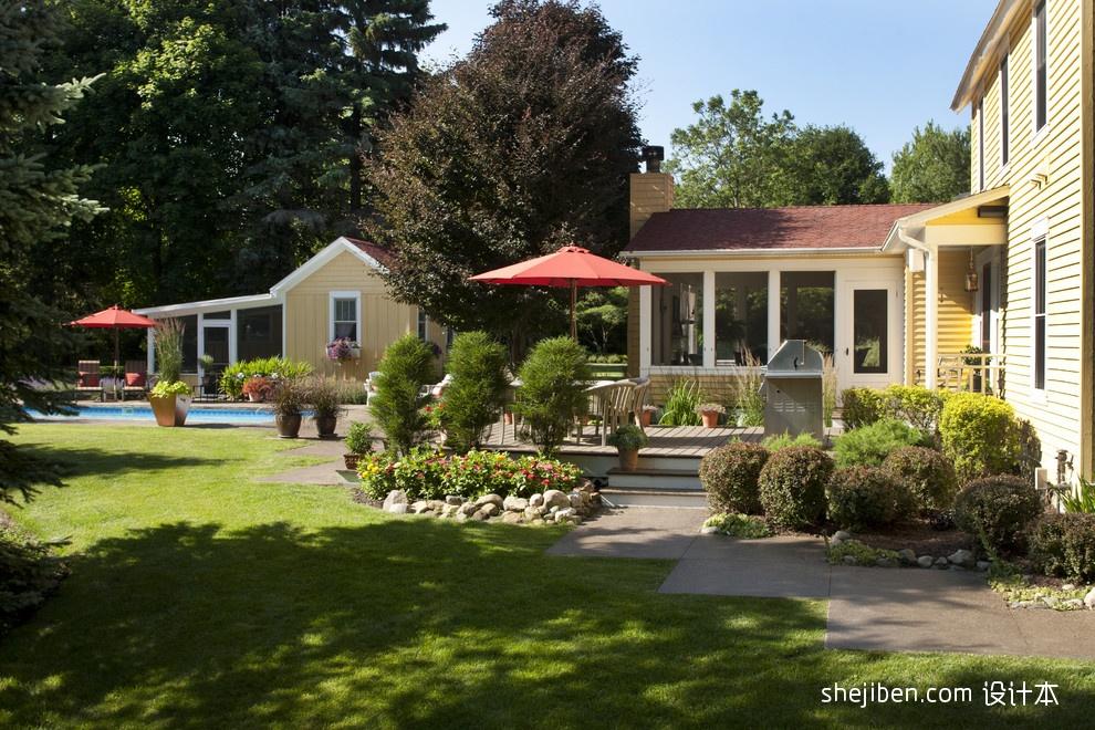 美式风格别墅一楼休闲区花园桌子椅子装修效果图片