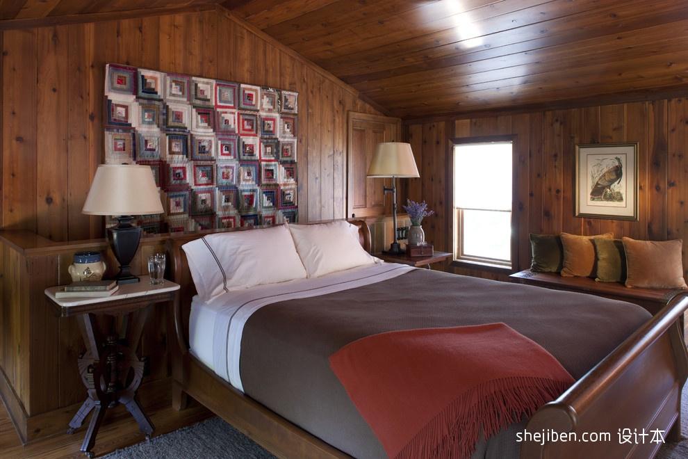 阁楼卧室床头背景墙装修效果图片