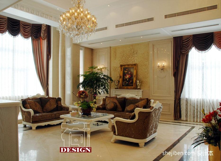 经典简欧客厅沙发罗马柱背景墙装修效果图设计图片赏析