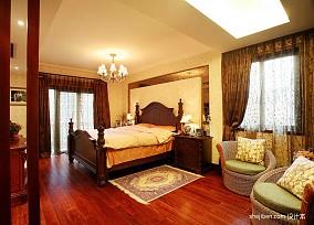美式风格复式家居主卧室床头背景墙装修效果图