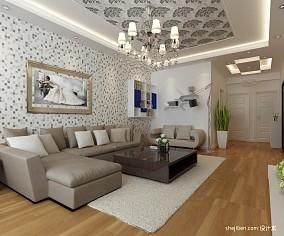 精美77平米二居客厅混搭装修欣赏图