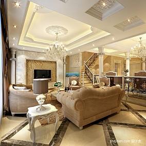 面积113平别墅客厅混搭装修效果图片