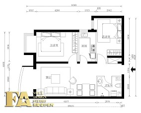美式45平米一室一厅装修客厅