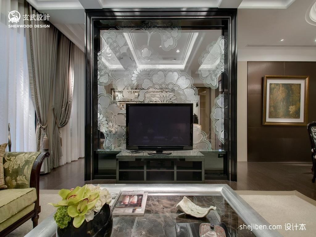 样板房时尚大气精选客厅影视玻璃隔断墙过道吊顶挂画背景墙功能区其他功能区设计图片赏析
