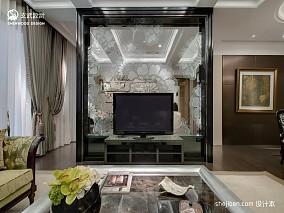 样板房时尚大气精选客厅影视玻璃隔断墙过道吊顶挂画背景墙