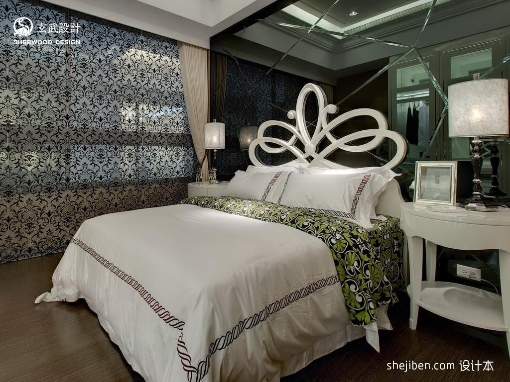 2017欧式风格别墅豪华次卧室镜面背景墙装修效果图功能区其他功能区设计图片赏析