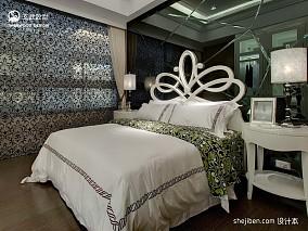 2017欧式风格别墅豪华次卧室镜面背景墙装修效果图