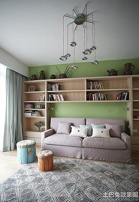 极简风格复式楼客厅书架效果图