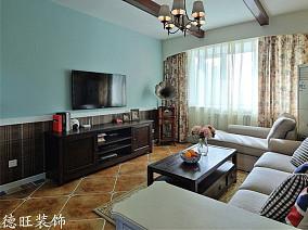 热门面积75平美式二居客厅装饰图片欣赏